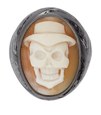 Amedeo Angry Skull Ring White