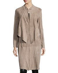 Halston Double Layer Suede Trenchcoat Silver