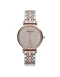 Emporio Armani Gianni T Bar Two Tone Stainless Steel Women's Watch W Dark Gray Sunray Dial Pink