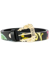 Versace Jeans Couture Printed Baroque Buckle Belt Black