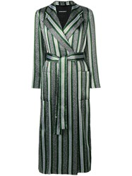 Emporio Armani Striped Belted Trench Coat Silver