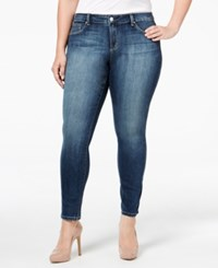 Jessica Simpson Trendy Plus Size Faded Medium Blue Wash Skinny Jeans