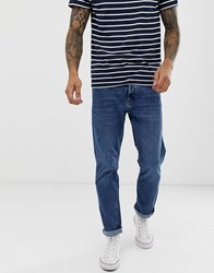 Bershka Slim Fit Jeans In Mid Blue Blue