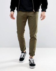 Asos Skinny Cropped Trousers With All Over Print In Khaki Khaki Green