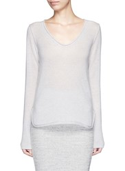James Perse Roll Edge Scoop Neck Cashmere Sweater Grey
