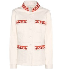 Tory Burch Berkely Embroidered Denim Jacket White