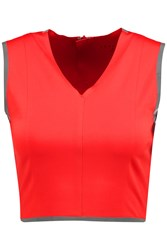 Theory Zeen Cropped Stretch Jersey Top Red