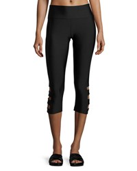Onzie Cutout Side Capri Pants Black
