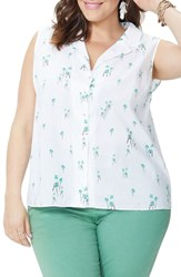 Nydj Plus Size Palm Print Top Three Palms Optic White
