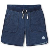 Saturdays Surf Nyc Austin Wide Leg Loopback Cotton Jersey Shorts Blue
