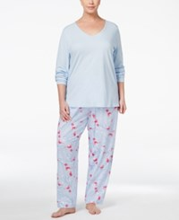 Charter Club Plus Size Mix It Top And Printed Pants Pajama Set Only At Macy's Winter Bird