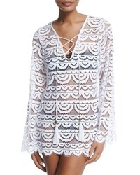Pilyq Noah Crocheted Tunic Coverup Water Lily White