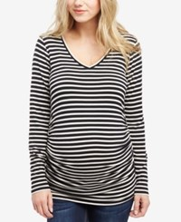 Motherhood Maternity Ruched T Shirt Black White Stripe