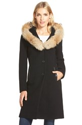 Women's Mackage Hooded Wool Blend Long Coat With Genuine Coyote Fur And Leather Trim