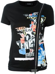 Dsquared2 Newspaper Collage Zip T Shirt Black
