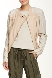 Laundry By Shelli Segal Faux Leather Asymmetrical Short Jacket Pink