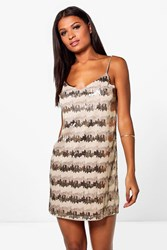 Boohoo Boutique Neve Sequin Embroidary Slip Dress Gold