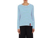 Kule Women's Modern Striped Cotton Long Sleeve T Shirt Cream Blue No Color