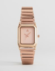 Asos Rectangle Expander Strap Watch Rose Gold Copper