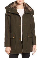 Kenneth Cole Women's New York Wool Blend Parka With Faux Fur Lined Hood Loden
