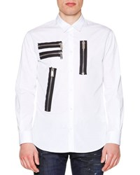 Dsquared Multi Zipper Detail Long Sleeve Shirt White