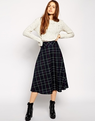 Asos Midi Skirt In Tartan Print Green