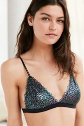 Out From Under Shimmer Lace Triangle Bra Black Multi