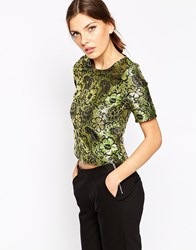 Ax Paris Boutique Metallic Jacquard Shell Top Black