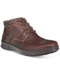 Clarks Men's Cotrell Rise Plain Toe Casual Chukka Boots Men's Shoes Brown Oily Leather