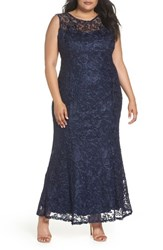 Marina Plus Size Women's Soutache Fit And Flare Gown Navy
