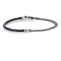 Title Of Work Men's Curb Chain And Black Leather Bracelet Silver