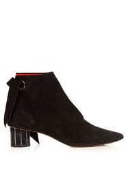 Proenza Schouler Faceted Heel Suede Ankle Boots Black