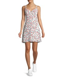 Cupcakes And Cashmere Dennis Sleeveless Floral Print Lace Up Dress White