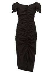 Brock Collection Ruched Satin Midi Dress Black