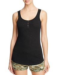 Pj Salvage Ribbed Henley Tank Black