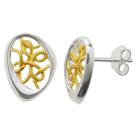 Nina B Sterling Silver Gold Plated Thread Stud Earrings
