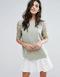Y.A.S Alche Lace Short Sleeve Top Green