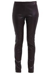 More And More Leather Trousers Aubergine Dark Purple