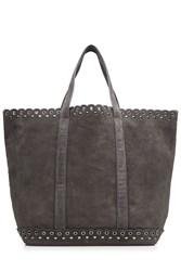 Vanessa Bruno Suede Tote With Stud And Eyelet Trim Grey