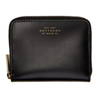 Smythson Black Wigmore Coin Purse Wallet
