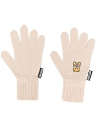 Moschino Teddy Patch Gloves Brown
