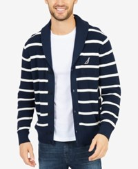 Nautica Men's Stripe Shawl Collar Cardigan True Navy