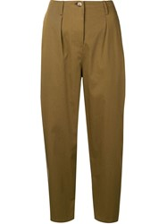 Valentino High Waisted Cropped Trousers Green