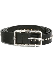 Eleventy Studded Buckle Belt Black