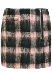Markus Lupfer Ida Plaid Wool Blend Wrap Mini Skirt Black Pastel Pink