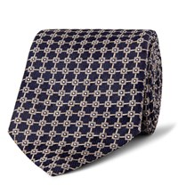 Dunhill 8.5Cm Mulberry Silk Jacquard Tie Midnight Blue