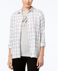 G.H. Bass And Co. Mixed Media Plaid Shirt Soft White Combo