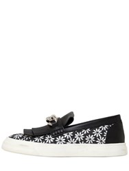 Giuseppe Zanotti Chained Daisy Canvas Slip On Sneakers Black