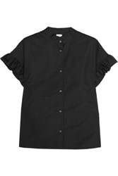 Iris And Ink Ruffled Cotton Poplin Shirt Black