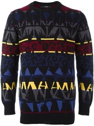 Sibling 'Basquiat' Fair Isle Jumper Black